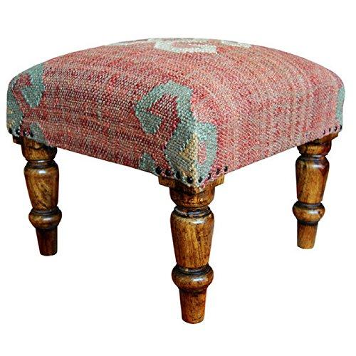 Herat Oriental Handmade Indo Kilim Upholstered Footstool, Dark sheesham by Herat Oriental