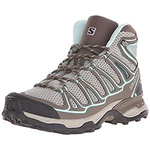 Salomon Women's X Ultra Mid Aero W Hiking Boot, Titanium/Swamp/Opaline Blue, 7.5 B US