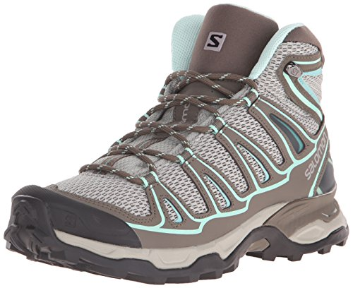 Salomon Women's X Ultra Mid Aero W Hiking Boot, Titanium/Swamp/Opaline Blue, 7.5 B (Blue Hiking Boots)