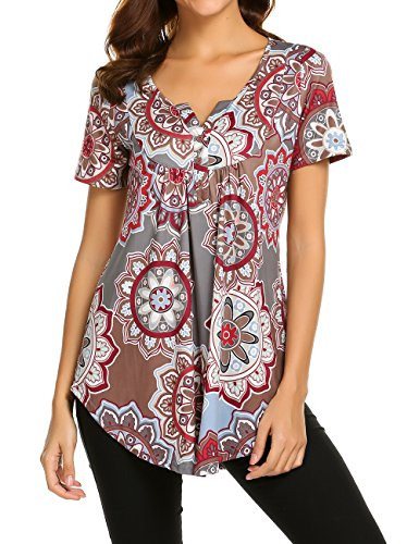 Women Casual Tunic Blouses Short Sleeve V-Neck Pleated Floral Summer Shirt Tops Grey,L
