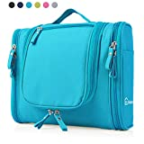 Heavy Duty Waterproof Hanging Toiletry Bag - Travel Cosmetic Makeup Bag for Women & Shaving Kit Organizer Bag for Men - Large Size: 10.2 x 4.5 x 8.5 Inch (Blue)