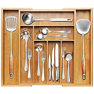 BAYKA Kitchen Drawer Organizer Bamboo Expandable Silverware Organizer, Adjustable Desk Drawer Divider, Large Utensil, Cutlery, Tools, Stationary & Silverware Tray – 8 Compartments