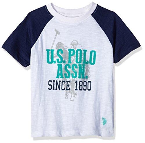Logo Print Polo - U.S. Polo Assn. Boys' Crew Neck Iconic Graphic Logo T-Shirt, White with Teal Print, 7
