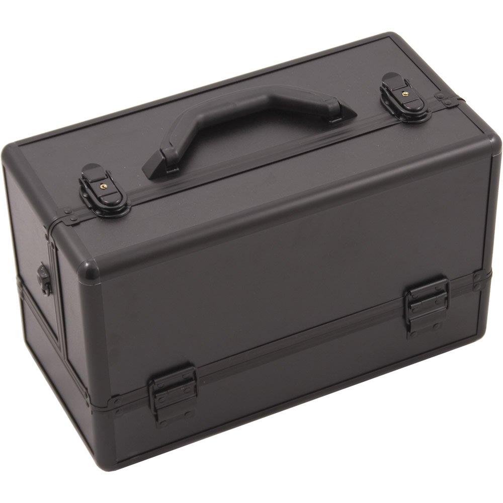 Hiker HK3201 Professional Makeup Artist Cosmetic Train Case Organizer Storage 6-Tray 2 Brush Holder, Smooth Black, 1-Count HK3201PPAB