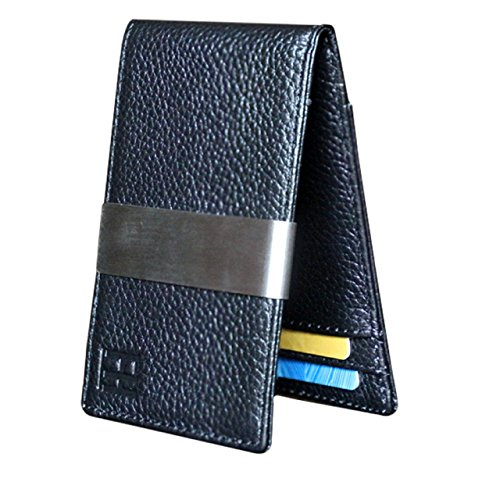 F&H Signature Money Clip Slim Wallet (Pebble-Grain Black)