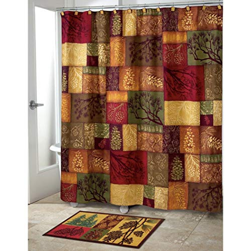 1 Piece Multi Luxury Motif Themed Shower Curtain, All Over Beautiful Mosaic Design Square Pattern, Gorgeous Trees Branches Bright Hippy Print Bathtub Shower, Gold, Green, Red, Brown, Polyester