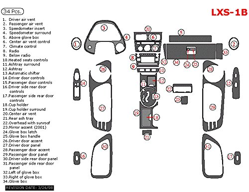 Car Interior Flat Overlay Kit By WOW Trim, Item# LXS-1B-RCF Lexus IS, For Models Without Navigation System, Full Kit, 34 Piece Set, Real Carbon Fiber
