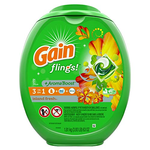 Gain Flings! Laundry Detergent Pacs, Island Fresh, 81 Count (Packaging May Vary) -