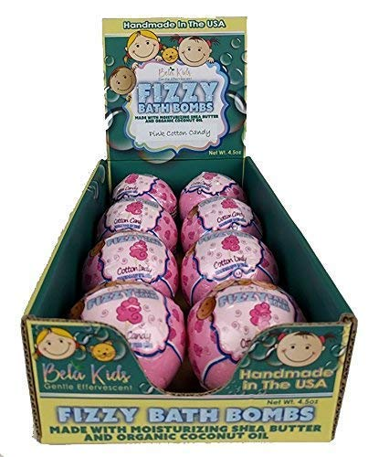 Bela Kids Fizzy Fun Bath Bombs - Pink Cotton Candy Scented, USA Made with Organic Coconut Oil, Moisturizing Shea Butter, Great Holiday Gift Set for Kids 4.5oz. Each - 8 Pack