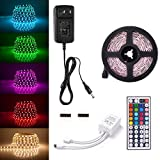 Sunix 2m 5050 LED Strip Lights Kit, RGB Colour Changing LED Flexible Strip + DC12V Power Adapter + 44-Key Remote, Non-Waterproof, Mood Decoration Lighting