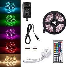 Sunix 2m 5050 LED Strip Lights Kit, RGB Colour Changing LED Flexible Strip + DC12V Power Adapter + 44-Key Remote, Non-Waterproof, Mood Decoration Lighting