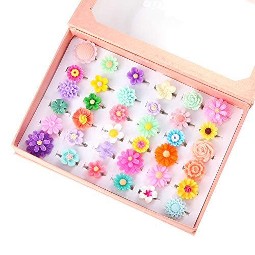 PinkSheep Little Girl Jewel Rings in Box, Adjustable, No Duplication, Girl Pretend Play and Dress Up Rings (36 Flower Ring)