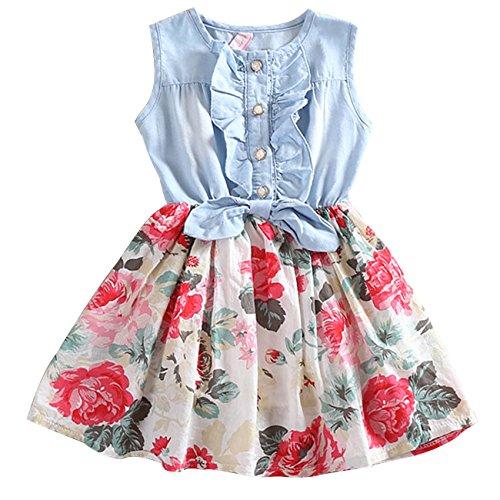 CM-Kid Little Girls' Sleeveless Denim Dress Splicing Flowers Sundress 4-5Y