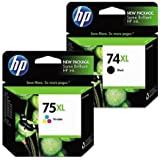 Genuine HP 74XL / 75XL& Tri Color Ink Cartridge Combo Pack-Black