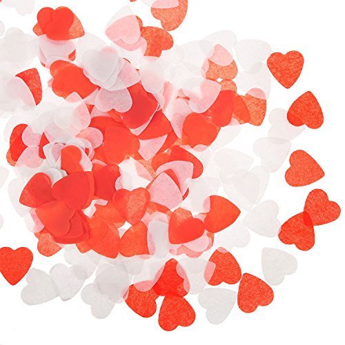 BBTO Red and White Heart Confetti Paper Confetti for Valentine's Day Wedding Party Table Decoration, 1 Ounce