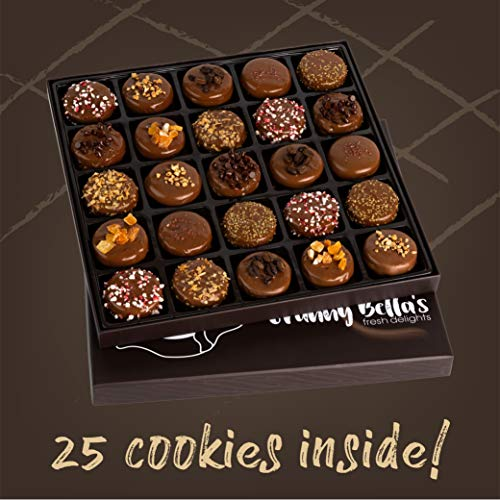Granny Bella's Christmas 25 Gourmet Cookies Gift Baskets Milk Chocolate Covered Sandwich Cookie Box Birthday Gifts For…