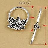 HYBEADS 10sets Tibetan Style Rose Flower Antique Silver Toggle Clasps for Tibetan Jewelry Making