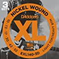 D'Addario EXL140-3D Nickel Wound Electric Guitar Strings, Light Top/Heavy Bottom, 10-52, 3 sets by D'Addario &Co. Inc