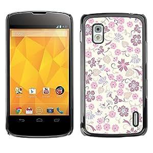 For LG Nexus 4 E960 - Bright Pink Purple Floral Print /Modelo de la piel protectora de la cubierta del caso/ - Super Marley Shop -