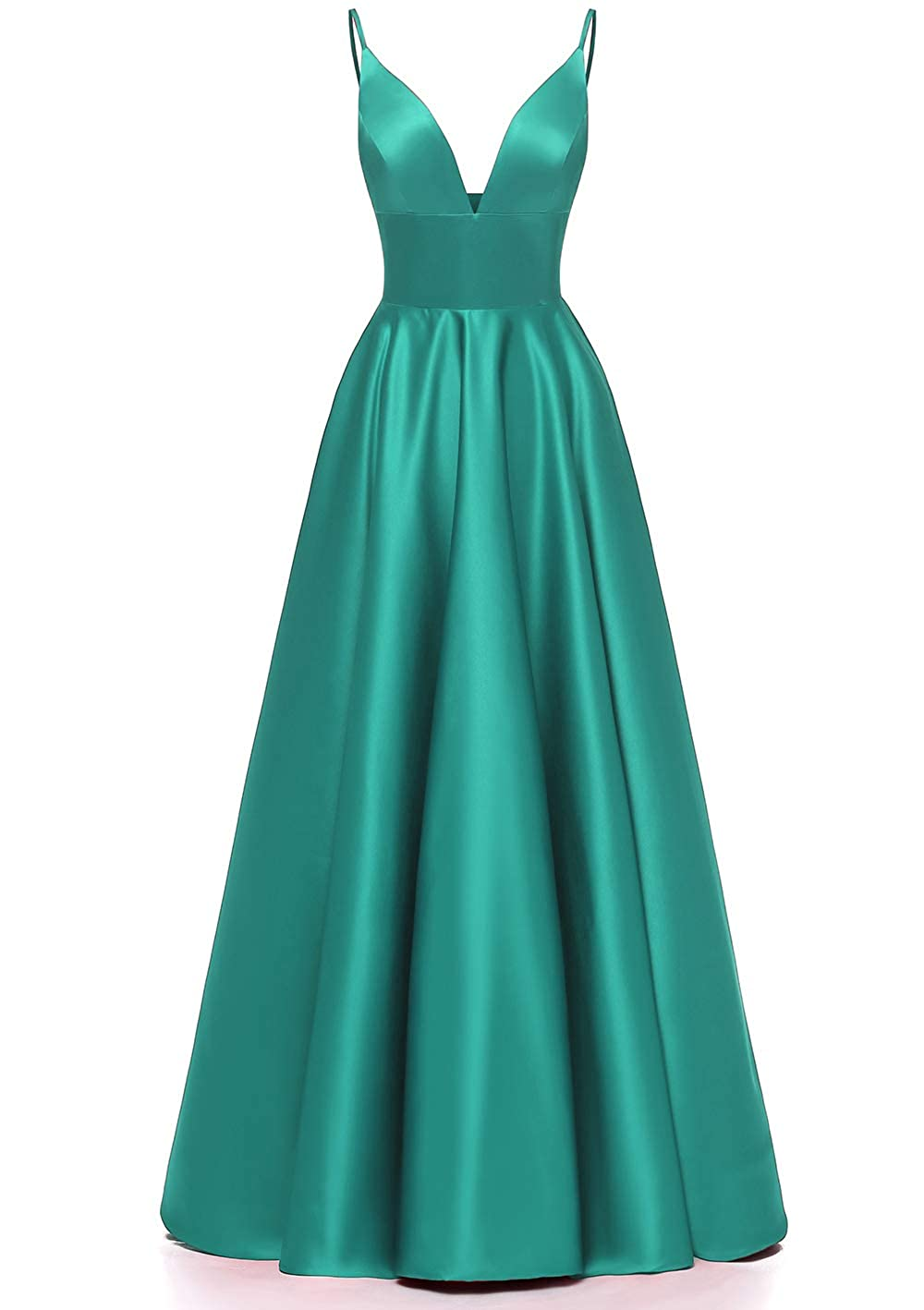 Turquoise JiusTan Sexy V Neck Prom Dresses Spaghetti Strap Satin Long Evening Dresses Party Gowns for Women with Pockets 2019