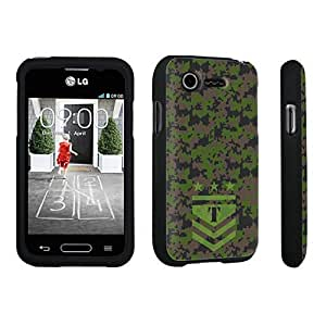 DuroCase ? LG L34C Optimus Fuel / LG Optimus Zone 2 VS415PP Hard Case Black - (Army Camo Monogram T)