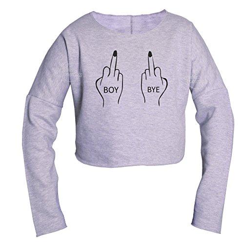 Trend Fashion_crop - Camiseta de manga larga - para mujer gris