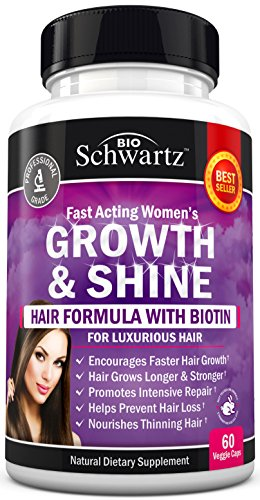 Hair Growth Vitamins with Biotin. Exclusive Hair Growth Product for Women for Longer, Stronger, Silky & Soft Hair. Visible results in 1 Month. Gluten Free Non GMO Vitamins for Hair Growth Made in USA