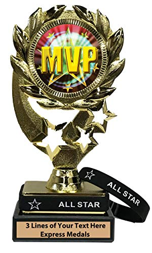 Express Medals MVP Trophy with Removable Wearable All Star Wrist Band Marble Base and Personalized Engraved Plate