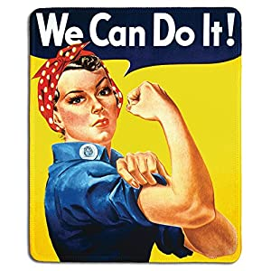 dealzEpic – Art Mousepad – Natural Rubber Mouse Pad with Famous Classic Vintage Poster Rosie The Riveter We Can Do It – Stitched Edges – 9.5×7.9 inches