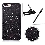 iphone 6 protective sheet - Case for iPhone 6S Plus,Rubber Case for iPhone 6 Plus,Herzzer Luxury Ultra Slim Black Bling Glitter Soft Gel TPU Shiny Stars Design Shockproof Protective Bumper Back Case - Stars