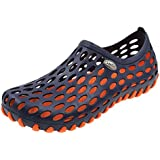 Amoji Women Adult Ladies Boy Water Shoes Sandals Summer Beach Outdoor Hiking Rafting Outside Printed Garden Clogs Wet Sport Female Men Girls NavyOrange 5.5US Women/4.5US Men
