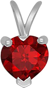 Christmas Special 10K White Gold Heart Shape Sim. Ruby Solitaire Pendant(1.24 Cttw)