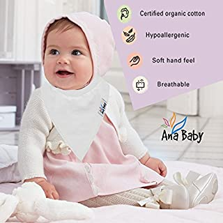 10-Pack Baby Bandana Drool Bibs Plain White for Drooling and Teething, 100% Organic Cotton, Soft and Absorbent, Unisex Bibs for Baby Boys & Girls - Baby Shower Gift Set by Ana Baby