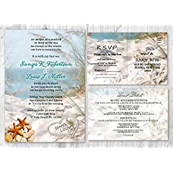 Beach Wedding Invitations and Matching Cards Starfish Seashell Invitation Set of 30