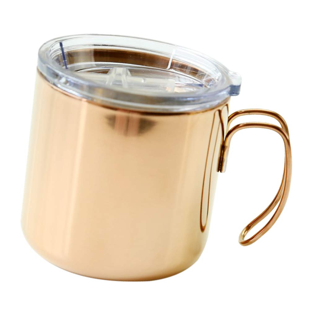 Fityle 400ml Coffee Mug Cup With Handle Stainless Steel Double Wall Vacuum Insulated With Sealed Lid, Great For Ice And Hot Drink Wine Glass For Home Office Outdoors - Rose Gold