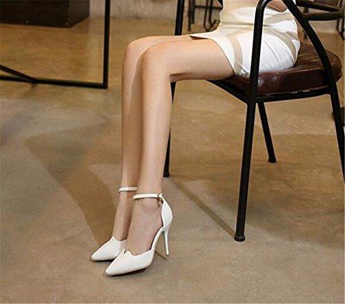 QIYUN.Z Ol Mujer Atractiva Tacon De Aguja En Punta Hueca Cinturon Bomba De Zapatos De Hebilla Blanco