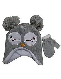 Toddler Girls' Winter Owl Face Critter Knit Hat and Mitten Set [4014]