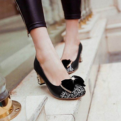 Charm Fot Womens Fashion Bågar Paljetter Chunky Häl Pumpar Skor Svarta
