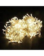 مصابيح شجرة الكريسماس الصفراء الزاهية لتزيين الحفلات والغرف والمناطق الخارجية، بطول 10 متر، سلسلة اضواء من 100 مصباح ليد