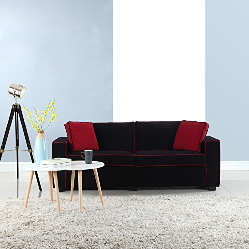 Divano Roma Furniture Modern 79 Inch Two Tone Colorful Velvet Fabric Living Room