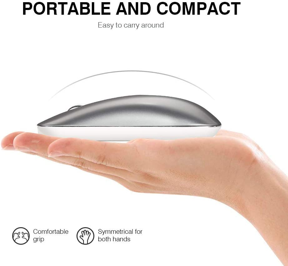 Wireless Mouse Inphic Slim Silent Click Rechargeable 2.4G Wireless Mice 1600DPI Optical Portable USB PC Computer Laptop Cordless Mouse with Nano Receiver Dark Blue