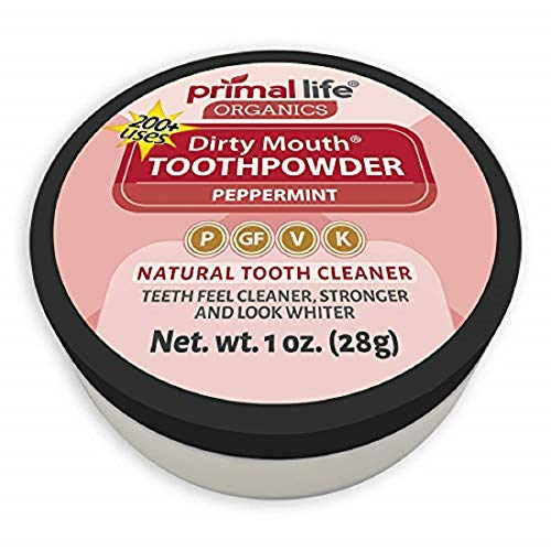Dirty Mouth Organic Toothpowder #1 Best Rated All Natural Dental Tooth Powder Cleanser- Gently Polishes, Cleans, Re-Mineralizes, Strengthens Teeth -Peppermint (1oz=3mo Supply) Primal Life Organics