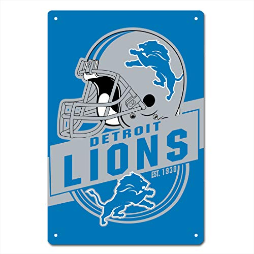 MamaTina Cool Detroit Lions American Football Team Design Metal Tin Signs for Home Wall Decor Size 12x8 Inches