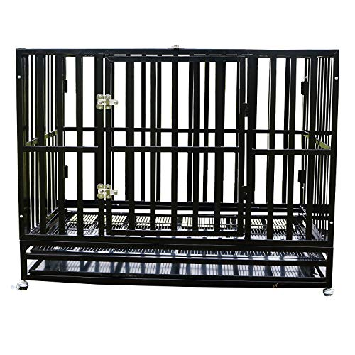 """PANEY 42"""" Large Heavy Duty Metal Rolling Dog Crate Cage Pet Kennel Playpen Exercise w/ Wheels Tray Square Tube"""
