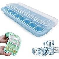 Cubiteras de hielo de silicona grandes, con tapa extraíble resistente a derrames, de fácil liberación y flexible, apilables, duraderas, 24 moldes de cubitos de hielo, certificado LFGB y sin BPA