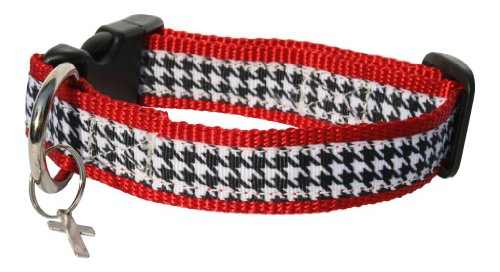 A Polka Dot Life 'Scotty' Red and Black Houndstooth Dog Collar, Small