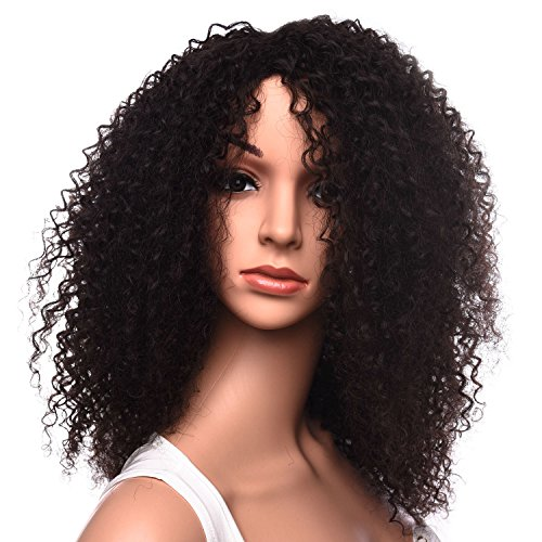 Silike Afro Kinky Curly Wig Kanenkalon Fiber Jerry Curl Wigs For Black Women African American Female Wig Heat Resistant Fiber (Long, 4) -