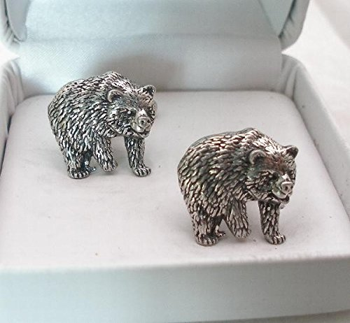 Bear Pewter Cuff Connectors – Gift Boxed (Grizzly Pewter Bear)