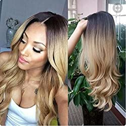 """Glueless Full Lace Wigs Human Hair Ombre Wig Black Roots 1B 27 Body Wave 100% Real Indian Virgin Hair Lace Front Wig With Baby Hair (20"""", Front Lace Wig)"""