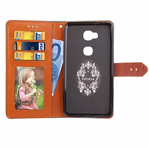 Funda Huawei Honor 5X,SainCat Funda de cuero sintético tipo billetera con de Suave PU Carcasa Con Tapa y Cartera, Correa de mano, Soporte Plegable, Ranuras para Tarjetas y Europeo Fresco Patrón Funda  Púrpura